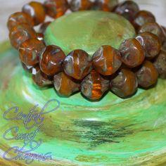Pumpkin Creme Brulee - Czech Glass Picasso Center Cut Beads