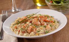 Risoto light de camarão, curry e legumes