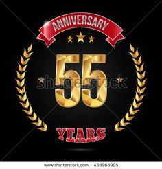 55 years golden anniversary logo, low poly design number