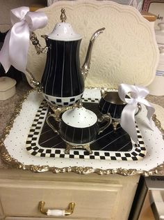 Vintage Silver Tea Set/Custom Painted: on one hand this is cool looking and I like it, on the other, I feel like it's a desecration of vintage silver and I hate it. Mackenzie Childs Furniture, Mackenzie Childs Inspired, Mckenzie And Childs, Silver Tea Set, Black And White Design, Black White, Coffee Set, Tea Accessories, White Decor