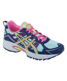 Look at this ASICS Ice Blue & Sharp Navy GEL®-Venture 4 GS Running Shoe - Big Kid on #zulily today!