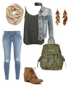 """""""Outdoorsy"""" by mymyhearts on Polyvore featuring Frame Denim, Miss Selfridge, Indigo Road, LE3NO, Ashley Pittman, Echo and Topshop"""