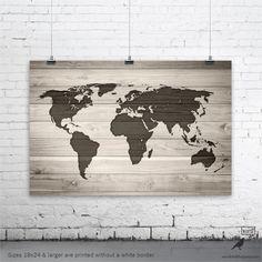 World Map Poster World Map on Digital Wood by WordBirdShop on Etsy