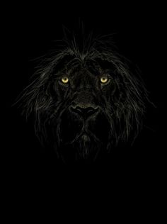 Lion on black on black
