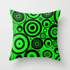"""Lime Circles Throw Pillow by Alice Gosling - $20.00 Available in 3 sizes, with or without the insert and 16"""" with cover for outside use  #pillow #cushion #home #unique #circles #shapes #green #lime #pattern"""
