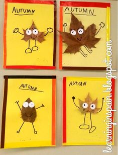 These are so cute- could add a writing piece too - describe your leaf person!                                                                                                                                                                                 Más