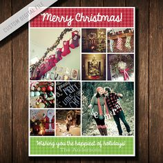 """Custom Print Your Own Photo Holiday or Christmas Card—INSTAGRAM COLLAGE (5"""" x 7"""" Digital File)"""