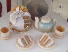 Dollhouse Miniature One Inch Scale Floral teaset by CSpykersMiniatures