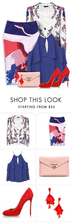 """""""Floral Print Jacket & Japanese Skirt"""" by majezy ❤ liked on Polyvore featuring Roberto Cavalli, MANGO, Dsquared2 and Oscar de la Renta"""