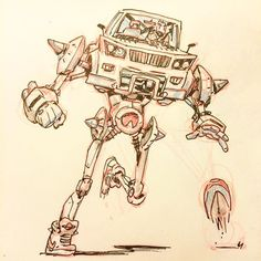 Day 01! Let's do this! #marchofrobots #mecha #basketball go watch some Basquash! by mrvinceaparo