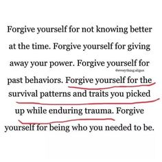 Forgiveness is tough. forgiving other people that hurt you is one thing but truly forgiving yourself for just doing your best and surviving is one of the only ways to find peace ✌🏼 Words Quotes, Me Quotes, Motivational Quotes, Inspirational Quotes, Upset Quotes, Timing Quotes, Sober Quotes, The Words, Image Citation