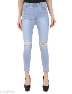 Checkout this latest Jeans Product Name: *VAP Store Blue High Waist Skinny Fit Women Denim Jeans* Fabric: Denim Multipack: 1 Sizes: 34 Country of Origin: India Easy Returns Available In Case Of Any Issue   Catalog Rating: ★4 (486)  Catalog Name: Stylish Feminine Women Jeans CatalogID_1210806 C79-SC1032 Code: 134-7509738-999