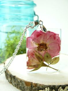 Pressed Rose Jewelry Herbarium Pendant Necklace by BloomSpoons $32