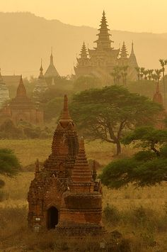 """Temples of Bagan, Myanmar (Burma)  The temples also known as """"gu"""" were inspired by the rock caves of Buddhist. They were larger multi-storied buildings that one could enter. They were places of worships that included richly frescoed corridors with sacred shrines and images that could be worshipped."""