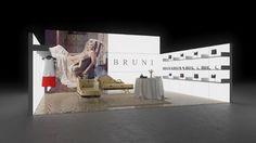 020 Mode Bruni | Klassischer Messestand eines Modeherstellers.   Der kleine Reihenstand nutzt weisse Leuchtwände mit integrierten Regaleinschüben und Kleiderstangen ...