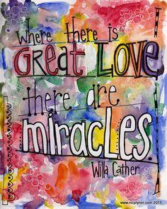 Onde há um grande amor Há milagres Aquarela Illustrated Imprimir
