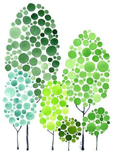This could  be done with a stamp pad and or fingerprints. A nice community building project. Change seasonally?  Start with the largest trees at the back and lighten the colour and decrease the size of the trees as they move down.