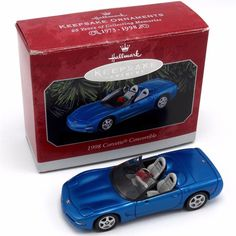 Hallmark Keepsake Ornament 1998 Corvette Convertible Blue Convertible with Box #Hallmark