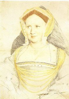 Mary Wotton, Lady Guildford, paternal great aunt of Lady Jane Grey, Holbein preparatory sketch