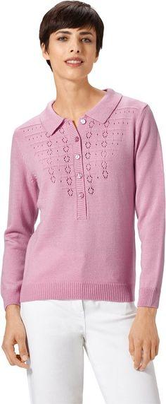 Pullover mit dezentem Ajourmuster ab 24,99€. Pullover mit langer, frisurenfreundlicher Knopfleiste, Polyacryl, Figurumschmeichelnde Form, Polokragen bei OTTO