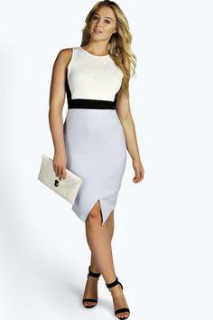 Plus Daisy Contrast Asymmetric Bodycon Dress alternative image