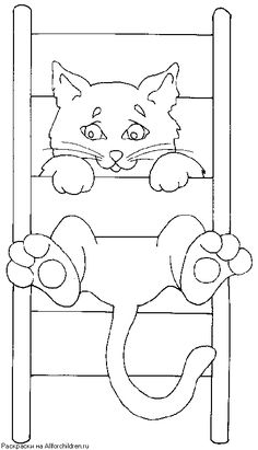 Cats - 999 Coloring Pages Cat Quilt Patterns, Applique Patterns, Applique Quilts, Applique Designs, Pattern Coloring Pages, Cat Coloring Page, Coloring Book Pages, Clip Art Vintage, Motifs D'appliques