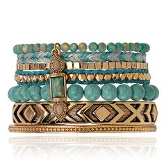 SAMANTHA WILLS - THIS IS BLISS BRACELET SET - SPECKLED TURQUOISE