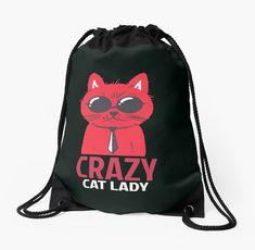 Crazy cat lady Drawstring Bag Crazy Cat Lady, Crazy Cats, Hoodies, Sweatshirts, Drawstring Backpack, Backpacks, T Shirt, Bags, Stuff To Buy