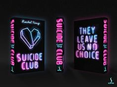 The eye-popping neon book cover for Suicide Club by Rachel Heng. Designed by Will Speed at Hodder & Stoughton.