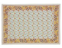 """Indian Cotton Placemats for the Kitchen Table - Yellow Beige Floral - Set of 6 Washable 13"""" x 19"""" Place Mats ShalinIndia http://www.amazon.com/dp/B00TAU1G4K/ref=cm_sw_r_pi_dp_nYVVvb1J2K4A1"""