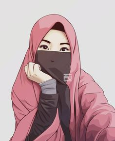 Niqab is my lifes Caricature, Muslim Hijab, Hijab Niqab, Hijab Drawing, Moslem, Islamic Cartoon, Hijab Cartoon, Islamic Girl, Girl Hijab