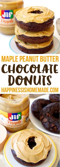 Maple Peanut Butter Chocolate Donuts - Creamy peanut butter, rich maple syrup, and decadent double chocolate combine together for one totally amazing breakfast treat! - Happiness is Homemade Peanut Butter Recipes, Creamy Peanut Butter, Donut Recipes, Chocolate Peanut Butter, Dessert Recipes, Brunch Recipes, Desserts, Chocolate Dipped Fruit, Chocolate Donuts