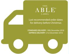The Able Label Christmas last order dates for delivery before Christmas