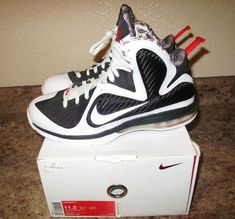 the best attitude fbb59 eed8a NIKE LEBRON 9 IX WHITE BLACK SPORT RED FREEGUMS (469764-101) Size