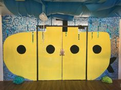 Submarine doorway. (Submerged VBS)   Made from large pieces of foam painted.