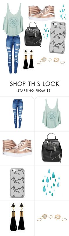 """lol"" by eleanor991 ❤ liked on Polyvore featuring WithChic, RVCA, Vans, Marc Jacobs, Music Notes and GUESS"