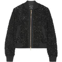 Elie Saab Embellished tulle bomber jacket ($4,800) ❤ liked on Polyvore featuring outerwear, jackets, black, zipper jacket, elie saab, tulle jacket, sequin jacket and flight jacket