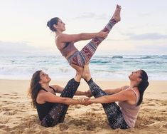 Walk into the studio with a brand new yoga outfit. Stretch, move and twist in comfort with yoga clothes for women. Couple Yoga, Three Person Yoga Poses, Yoga Poses For Two, 3 People Yoga Poses, Group Yoga Poses, Acro Yoga Poses, Partner Yoga Poses, Couples Yoga Poses, Yoga Fitness