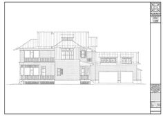 Side Elevation of Coastal Style Waterfront Home Beach Cottage Decor, Waterfront Homes, Beach Cottages, Coastal Style, Curb Appeal, Floor Plans, Diagram, Exterior, Group