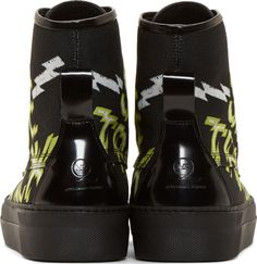 McQ Alexander McQueen Black Canvas & Leather Side Track High-Tops
