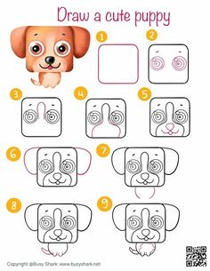 how to draw a cute cartoon puppy step by step tutorial easy Cartoon Drawing For Kids, Cute Cartoon Drawings, Easy Drawings, Animal Drawings, Very Cute Puppies, Puppy Drawing, Drawing Practice, Free Printable Coloring Pages, Step By Step Drawing