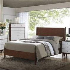Oakwood Modern Brown Wood Queen Bed | Bedrooms | The Classy Home | Best Deal Furniture