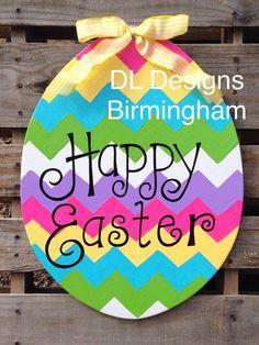 Happy Easter or He is Risen Easter Egg Door Hanger
