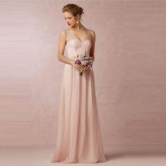 01fce6955ab Date robes col en V en mousseline de soie belle dame plissé robes de mariée  2016 demoiselles d honneur robes