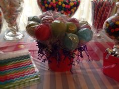 Homemade candy pop bouquet