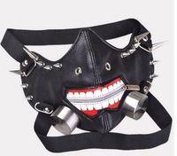 Tokyo Ghoul Kaneki Ken Black Zipper Cosplay Mask Eye Patch Halloween HelmetVisor