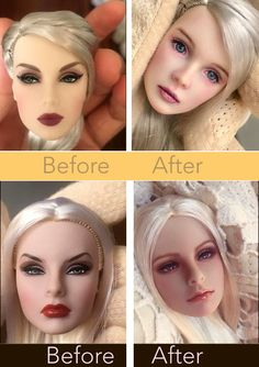 Doll Repaint Tutorial, Doll Tutorial, Ooak Dolls, Barbie Dolls, Art Dolls, Custom Monster High Dolls, Monster High Repaint, Custom Barbie, Custom Dolls