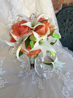 Orange Bouquet - Lily Bouquet - True Touch Rose and Lily Bouquet - Real Touch Bouquet - Real Touch Lily And Rose Bouquet - Orange and White - pinned by pin4etsy.com