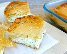 The most popular Pie in Greece, and probably the most decadent. Rich and tangy feta filling wrapped in crispy phyllo. Get the authentic recipe for traditional tiropita. Greek Cheese Pie, Cheese Pies, Cheese Sauce, Mediterranean Diet Recipes, Mediterranean Dishes, Crockpot, Greek Potatoes, Sandwiches, Greek Recipes