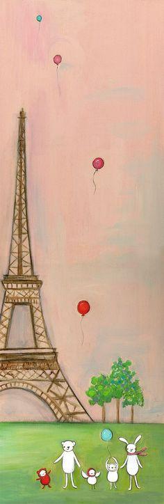"""Creative Thursday """"We're in Paris"""" print. Oh Paris, Paris Art, I Love Paris, Tour Eiffel, Paris Eiffel Tower, Paris Illustration, Cute Illustration, Friends Illustration, Paris Theme"""